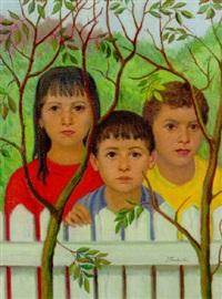 three children by a white fence by johannes petrus josephus (jan) franken