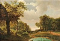 landscape in summer with clouded sky by marinus adrianus koekkoek the elder