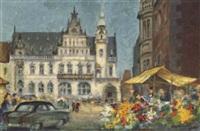 blumenmarkt und borgward vor der bremer bank by willy haunschild