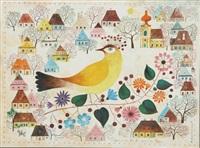 dorf mit kirche, häusern, bäumen und großem gelben vogel by gyorgy lehoczky