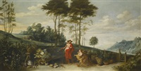 noli me tangere, an extensive landscape beyond with a still life of vegetables in the foreground by jan brueghel the younger