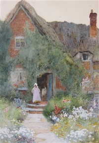 outside a country cottage by arthur claude strachan