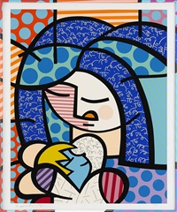 mother and child by romero britto