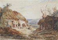 bauernpaar mit pferd und hühnern vor strohgedeckten hütten by robert léopold leprince