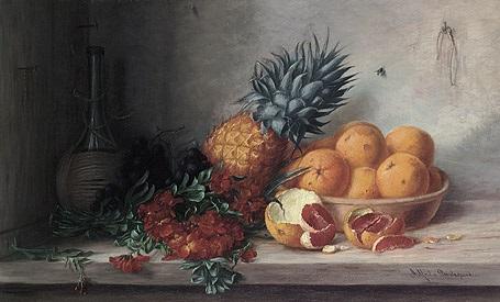 früchtestilleben mit orangen ananas flox und chianti flasche by alfrida baadsgaard