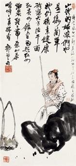 人物 镜心 纸本 by jiang fengbai and wang xilin