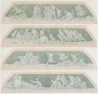viele laufen nach dem glück, doch nur wenige erreichen es (4 studies for a frieze design) by edward jakob von steinle