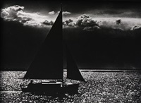 moonlight bay, sailboat in chesapeake off rock hall, md by george gelernt