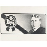 proposal for dollar bill / william randolph hearst, pabst blue ribbon, batf insignia (inverted) by banks violette