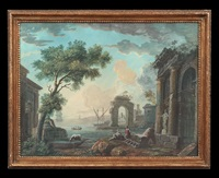 capriccio ruins; seaport with ruins and figures (2 works) by marco ricci