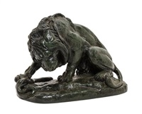 a french bronze animalier figure depicting a snake being attacked by a lion by antoine-louis barye