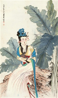 芭蕉仕女 (beauty lady and banana leaves) by xiao jianchu