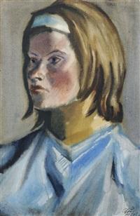 bildnis inge auxel mit blauem haarband by curt querner