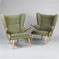 two wingback chairs (model 91) (pair) by svend skipper