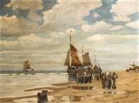 ankunft der fischerboote am holländischen strand by adolf hilgers