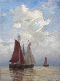 hollandske fiskerbaade udenfor kysten by betzy akersloot-berg