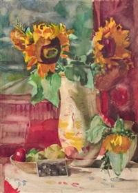 stilleben mit sonnenblumen und fotografie (+ interieurszene mit kaffeetisch und gugelhupf, verso) by bernhard kretzschmar