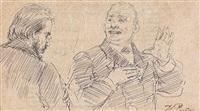 zwei männer im gespräch by il'ya repin