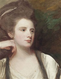 portrait of a lady, bust-length, in a white dress by george romney