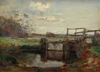 lock gates (+ river scene; pair) by james herbert snell