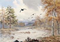 black game in an autumn setting over a river by john cyril harrison