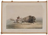buffalo hunt, chaise, pl.5 (from north american indian - hunting scenes and amusements of the rocky mountains and prairies of america) by george catlin
