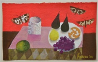 red still life with moths by mary fedden