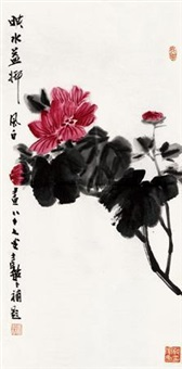 映水荷花 镜心 纸本 by jiang fengbai
