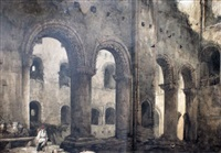 interior of norman castle by samuel prout