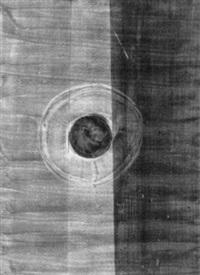 komposition mit roter kugel auf hellem kreis by hans fischli