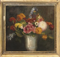 poppies, chrysanthemums, and anemone in a vase by henry john lintott