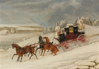 the london-glasgow royal mail coach descending a hill in a snowstorm by james pollard