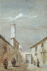 a street scene in brescia, lombardy by david roberts