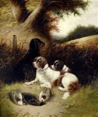 drei jagdhunde bewachen das erlegte federvieh by bernard de gempt