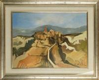 vue de village perché sur la montagne by amilcare cristini