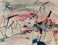 harbour scene by siegfried reich an der stolpe