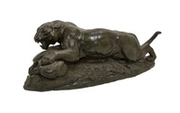 a french bronze animalier figure depicting a tiger attacking a peacock by antoine-louis barye