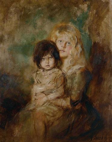 portrait der töchter marion und gabriele by franz seraph von lenbach