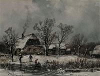 winterlandschaft mit auf dem eis spielenden kindern by adolf stademann