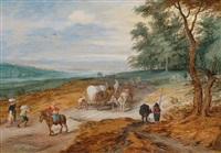 landschaft mit reisenden auf einer landstraße by jan brueghel the younger