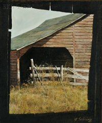 view of a new england barn by adolf sehring