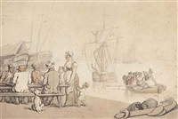 drinkers at a dockside tavern, ships beyond by thomas rowlandson