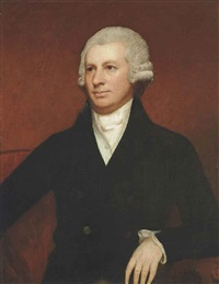 portrait of john sparling (d. 1778), half-length, in a black coat by george romney