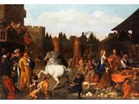 markttreiben vor den mauertoren einer stadt mit einem hochsteigenden schimmel im zentrum by hendrik van limborch