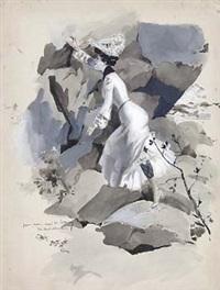 junge elegante frau beim klettern über felsen by jack abeillé