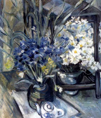kukka ja teekannuasetelma still life with flowers and tea pot by alex andre avxente