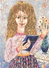 girl with book and flowers by rifka angel