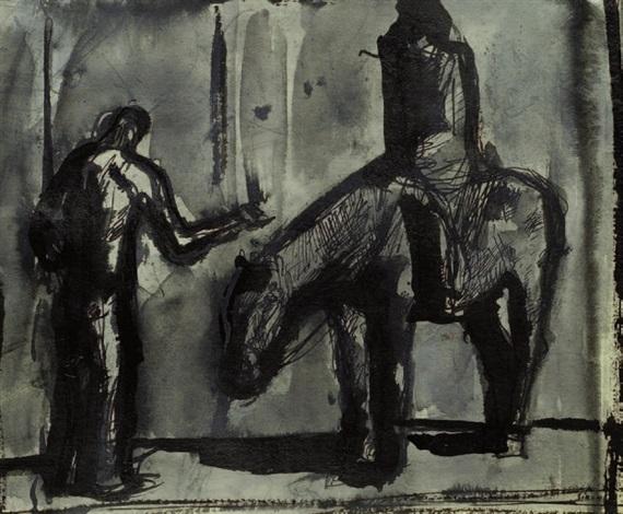 composizione con cavallo cavaliere e figura by mario sironi