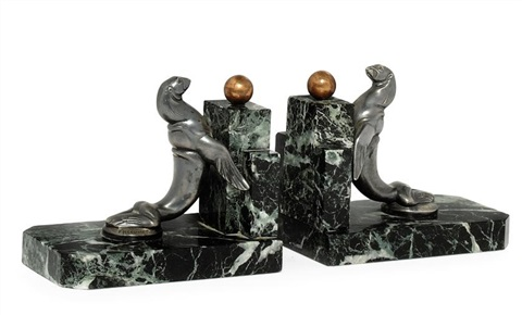 sea lion bookends (pair) by maurice frecourt