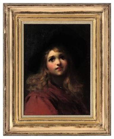 portrait of a young girl in a red coat and black hat by ernest w appleby